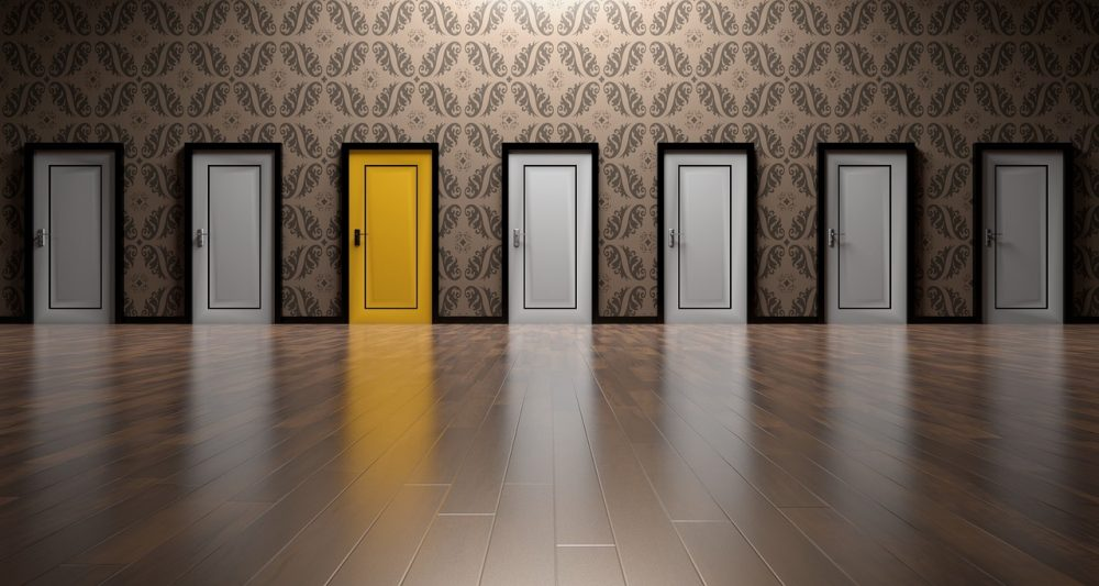 seven doors all white except one that is yellow to emphasize focus & Zero In On Your Next Career Move - Career Coaching for Career ... pezcame.com